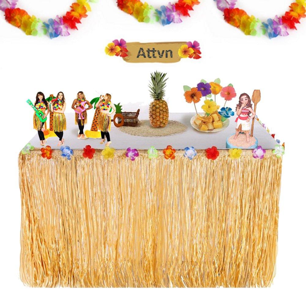 MIMIEYES Hawaii Luau Tischr/öcke mit Tropischen Blumen und Banner f/ür Garten Strand Sommer Tiki BBQ Party Dekorationen Gr/ün