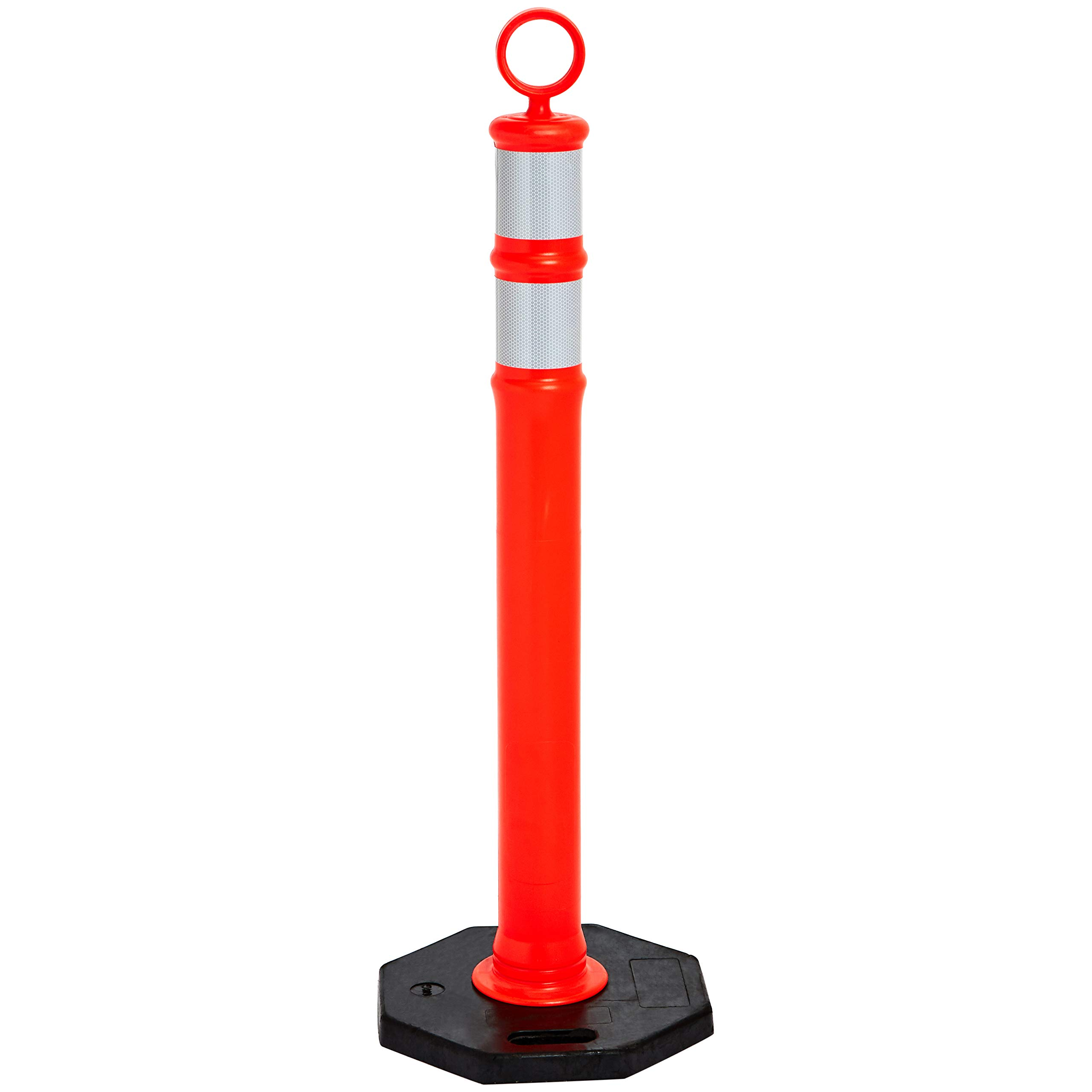 AmazonBasics Polyethylene Portable Traffic Delineator Post with 13 lbs Recycled Rubber Base, 46'' Height, Orange by AmazonBasics