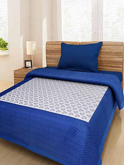 Bombay Spreads Multi Color 100% Pure Cotton Single Bed Sheet Elegant Design  For Bedding Or