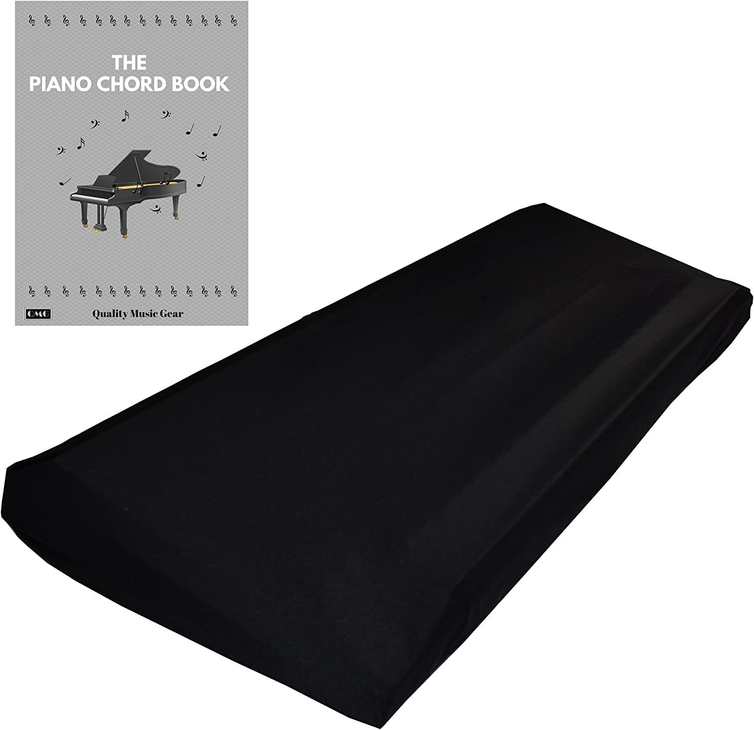 "QMG Stretchable Keyboard Dust Cover for 61 & 76 Key-keyboard: Best for all Digital Pianos & Consoles – Adjustable Elastic Cord; Machine Washable – 41""×16""×6""."