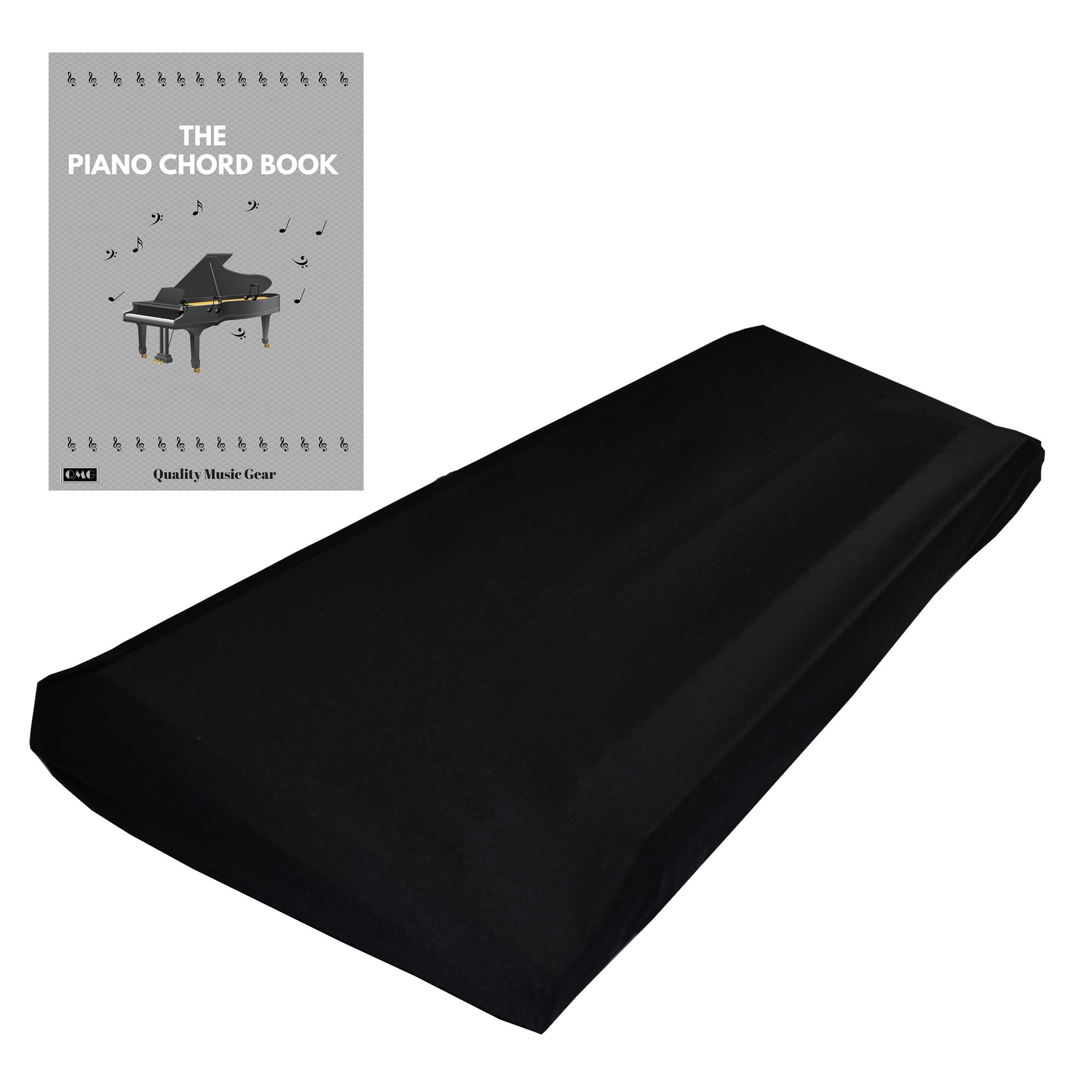 """Stretchable Keyboard Dust Cover for 61 & 76 Key-keyboard: Best for all Digital Pianos & Consoles – Adjustable Elastic Cord; Machine Washable – FREE Piano Chords Ebook – 41""""×16""""×6""""."""