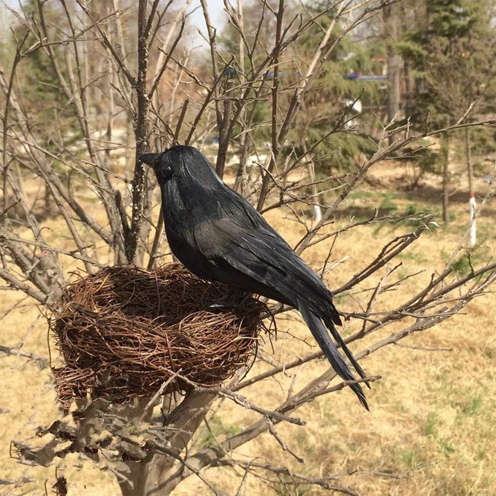 Künstliche Rabe Krähe Vogel für Garten Balkon Dekoration