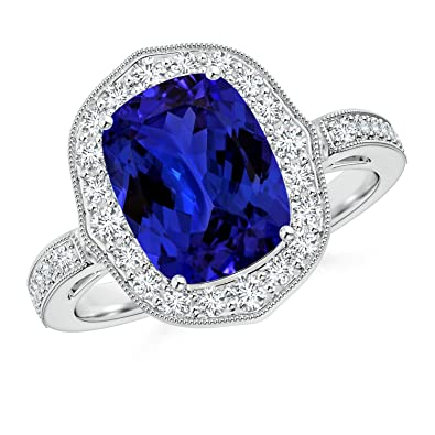 Angara Tanzanite Ornate Halo Ring (GIA Certified Tanzanite) YoGuDWWb