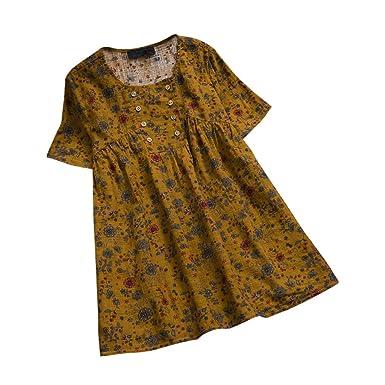 Geilisungren Retro Camiseta de Mujer Manga Larga Cuello Redondo Tops Tamaño Grande Lino Blusa Florales Imprimiendo Tops La Moda Blusa Ocio Suelto Arriba: ...