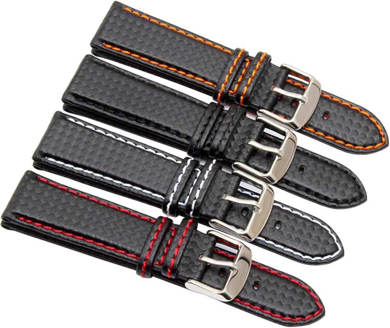 18 mm 20 mm 22 mm 24 mm Reloj para Hombre Banda de Fibra de Carbono Correa de Reloj con Costuras Rojas + Forro de Cuero Corchete de Acero Inoxidable Correa de Reloj