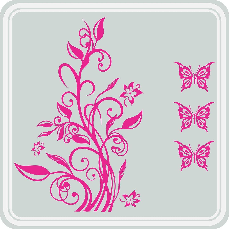 Autocollant JINTORA Sticker Vrille Floral Autocollant De Voiture Style de Voiture 3 Papillons 77cm x 50cm Orange r/églage Lunette arri/ère Voiture