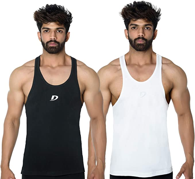 Hommes Uni Gym Gilet Musculation Muscle Stringer Dos Y Débardeur Nageur Lot