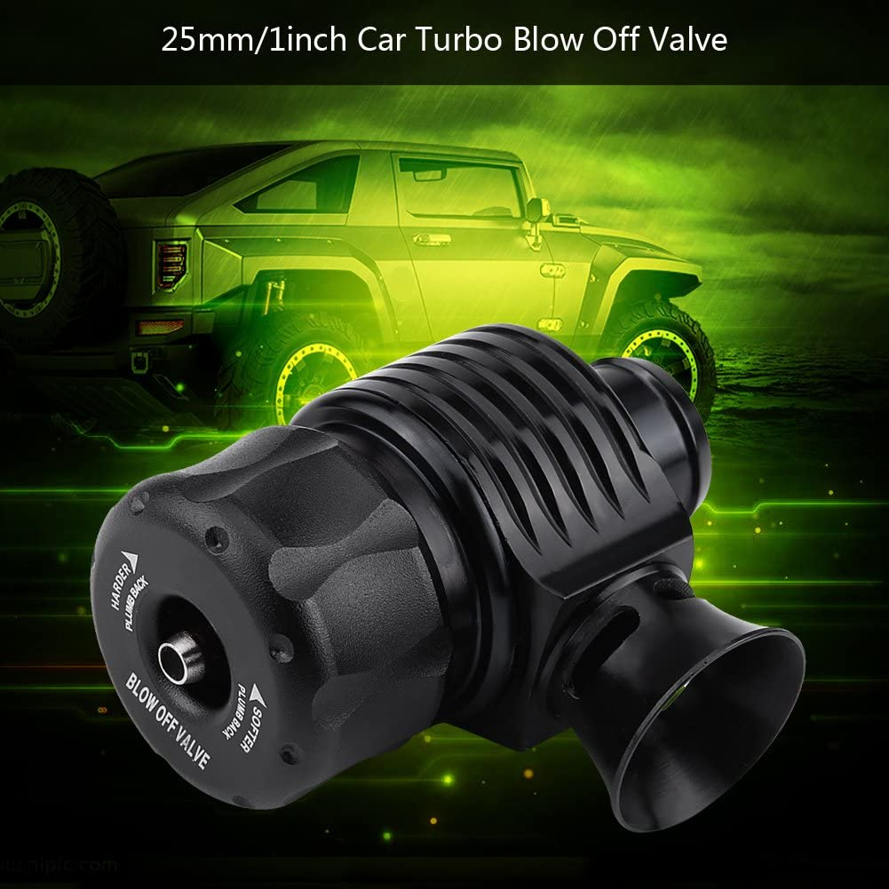 Universal 25mm//1inch Car CNC Aluminum Alloy Turbo Blow Off Valve Dump Valve Kit with Adapter Blow off Valve Kit Clamp /& Hose Horn-shape