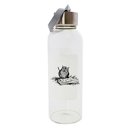Un búho dibujo 420 ml botella de cristal