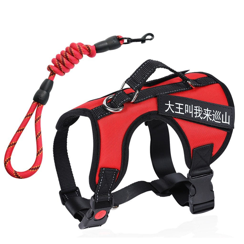 Red L Red L GWM Leashes Pet Harness, Chest Strap, Leash, Dog Rope, Medium, Large Dog, Collar, Explosion Proof, Pet Supplies (color   Red, Size   L)