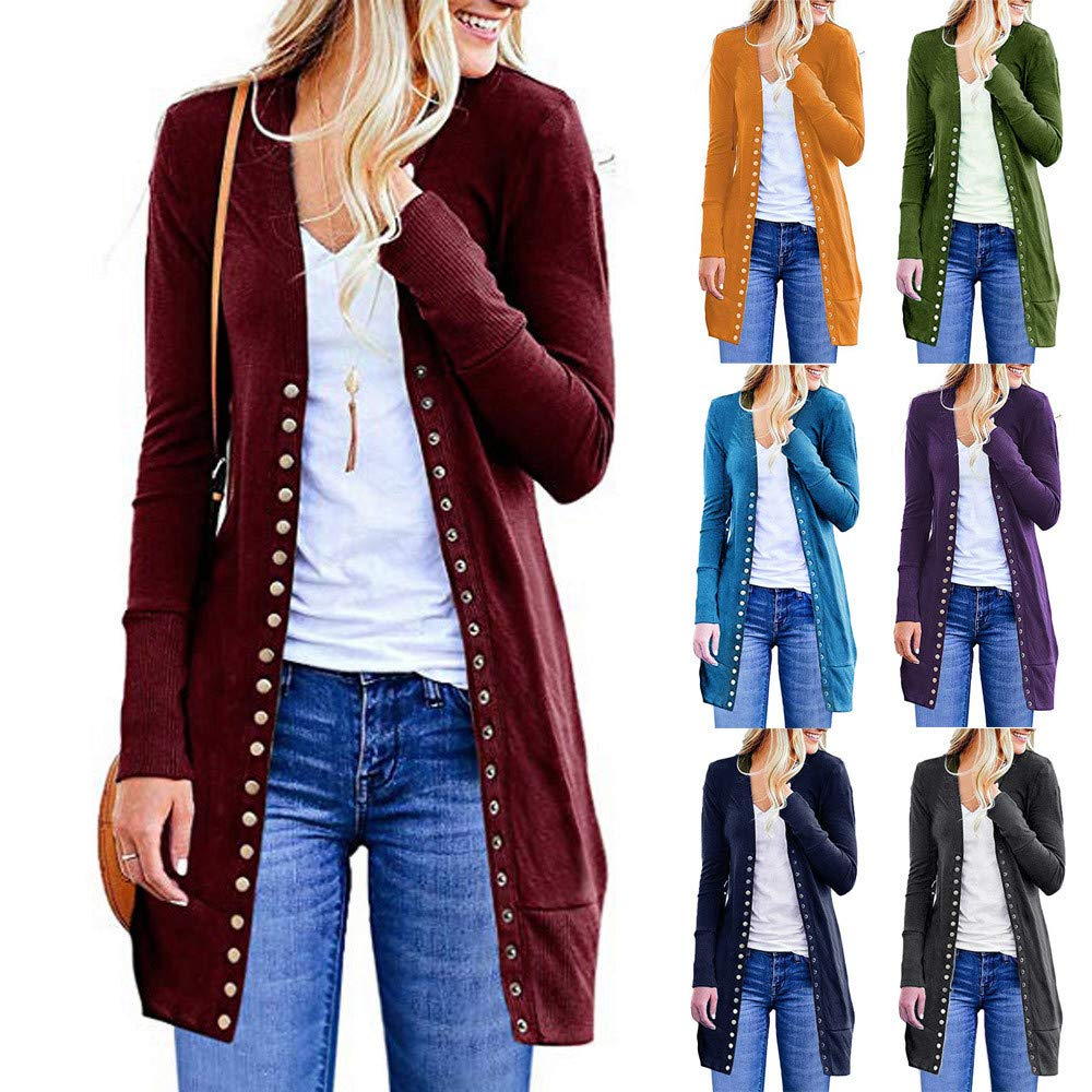 Amazon.com: Womens Long Sleeve Snap Button Down Solid Knit Jacket Sweaters Cardigans Coat: Clothing