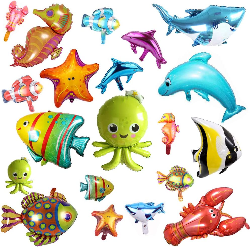 HJAA 5 Pcs Foil Balloons Ocean Animals Balloons Fish Balloons Cartoons Octopus Starfish Hippocampus Crab Pufferfish Sea Animal Balloons for Kids Birthday Ocean Themed Party Decorations