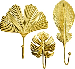 Dorm Queen Gold Decorative Wall Hooks – Set of 3 | Gold Hooks for Hanging Keys, Hats and Jewelry | Gold Wall Hooks | Gold Decor