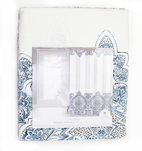 amazon com envogue damask border shower curtain blue home kitchen
