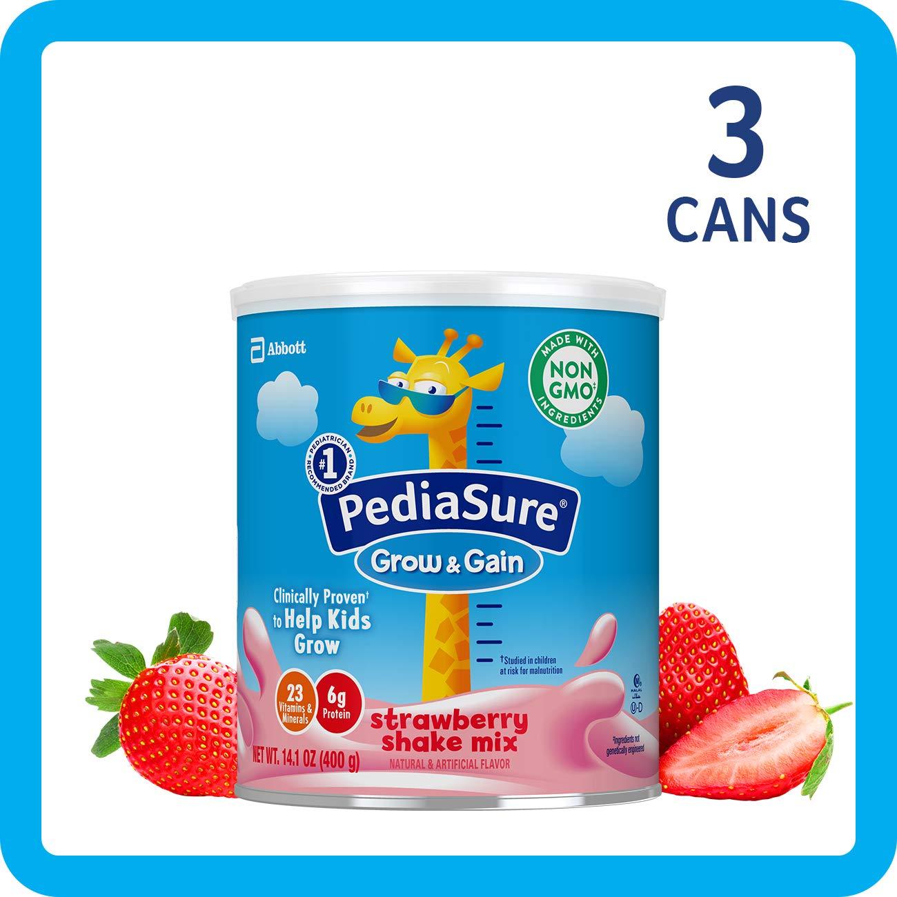Pediasure Grow & Gain Non-Gmo Shake Mix powder, nutritional Shake for Kids, With Protein, Dha, antioxidants, & Vitamins & Minerals, Strawberry, 14.1 Oz, 3Count