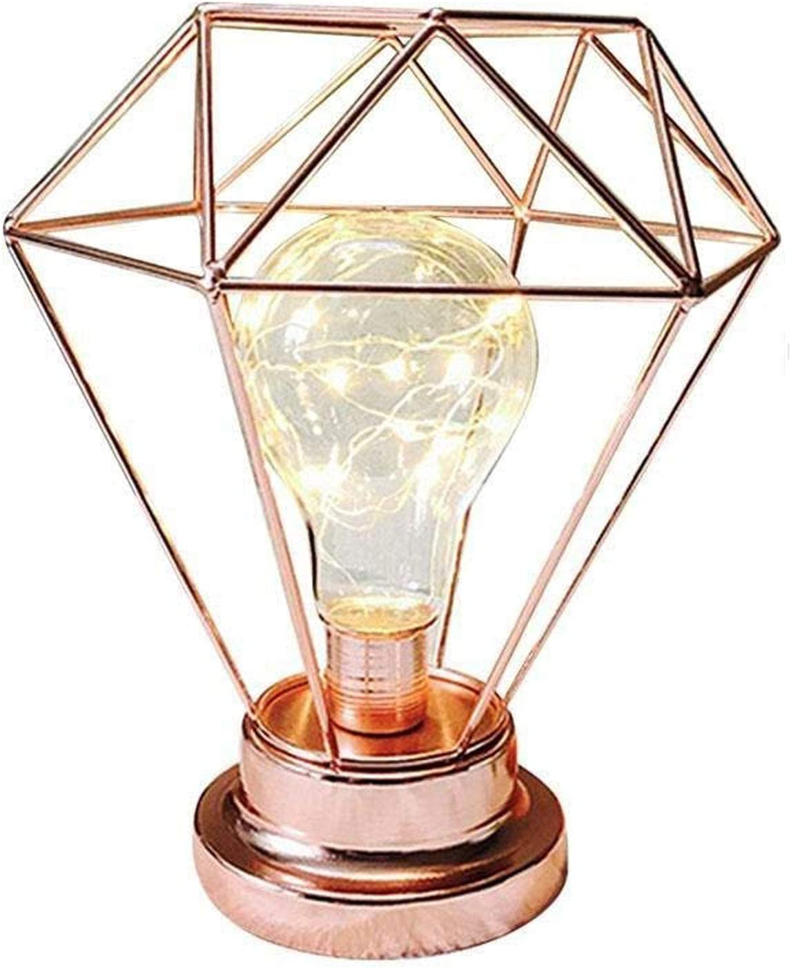 Ros/égold Hotel Metall Tischlampe,SUAVER Diamond Form Nachttischlampe Stehlampe,Batteriebetrieben Nordic Style Eisen Schreibtischlampe kreative Nachtlicht dekorative Beleuchtung f/ür Schlafzimmer