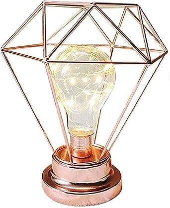 Lámpara de Mesa de Metal,SUAVER Lampara Escritorio diamante,Luz creativa de la noche,Lámpara de Cabecera de Noche,Bombilla LED decorativa para dormitorio,Bateria cargada(Oro rosa): Amazon.es: Iluminación