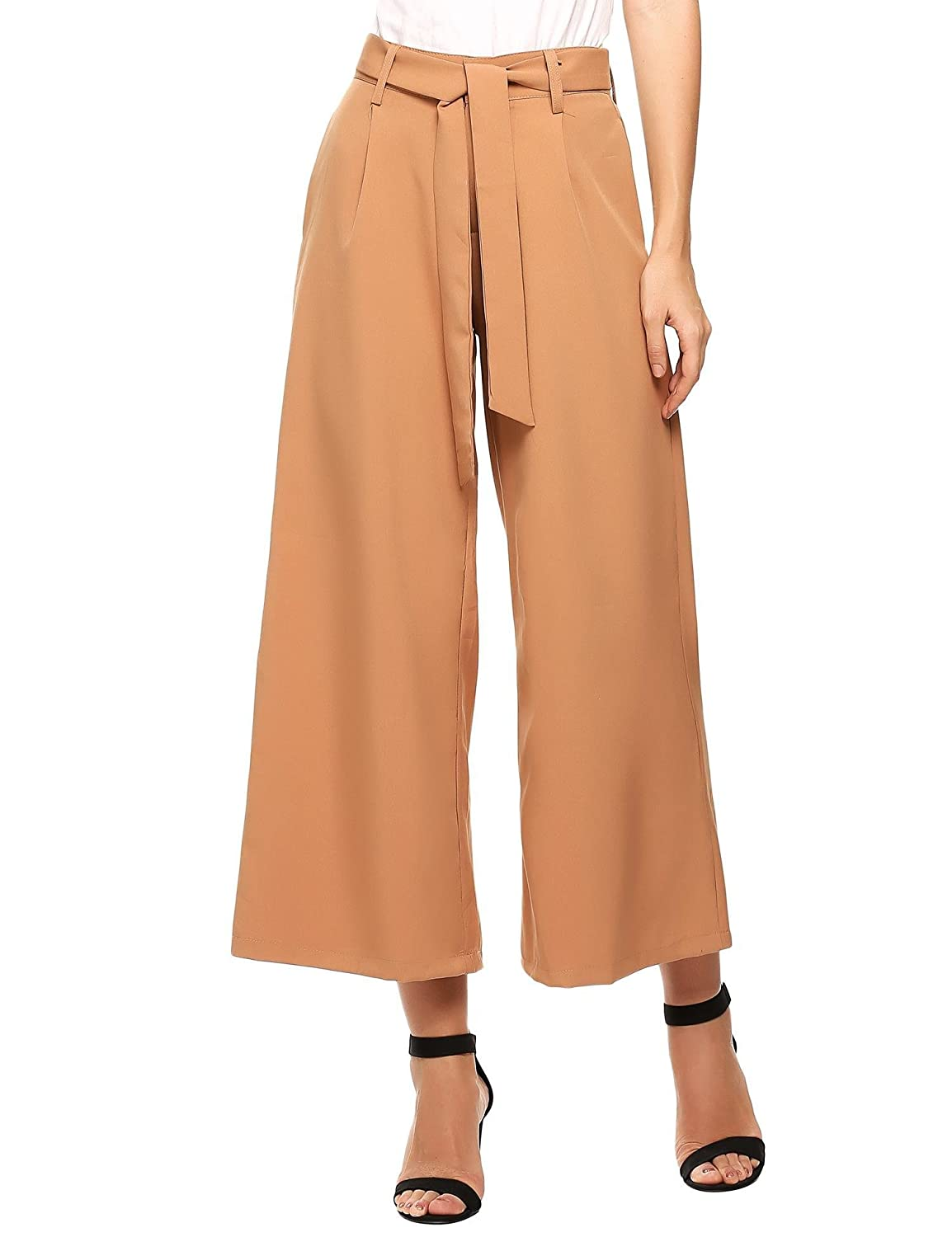 SE MIU Women's Stripe Flowy Wide Leg High Waist Belted Palazzo Pants Capris UNH006039