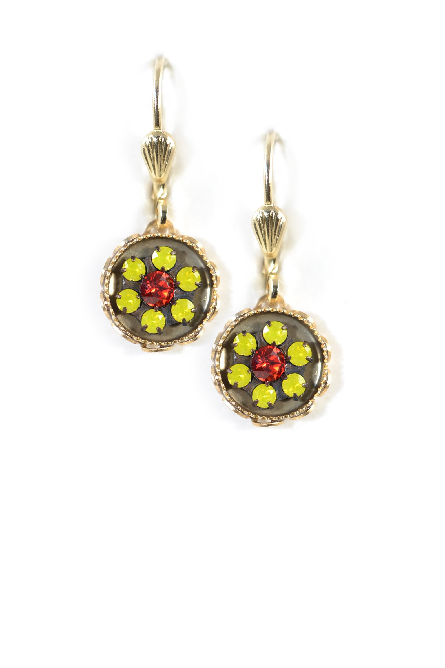 Clara Beau Yellow Red Color Combo Swarovski Glass Crystal Round Goldtone Dangle Earrings EG247