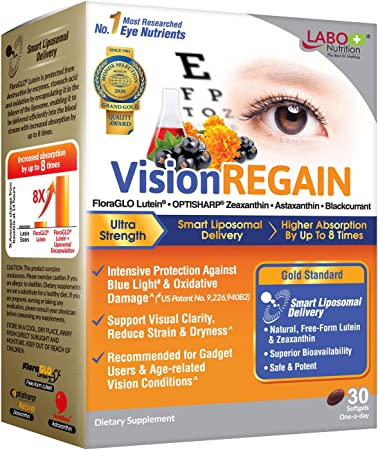 LABO Nutrition VisionREGAIN - Smart Liposomal Delivery, up to 8X Higher Absorption, 20mg FloraGLO Lutein, zeaxanthin, Superba Krill, AstaReal Astaxantin, Supports Eye Health, for Blue Light Protection