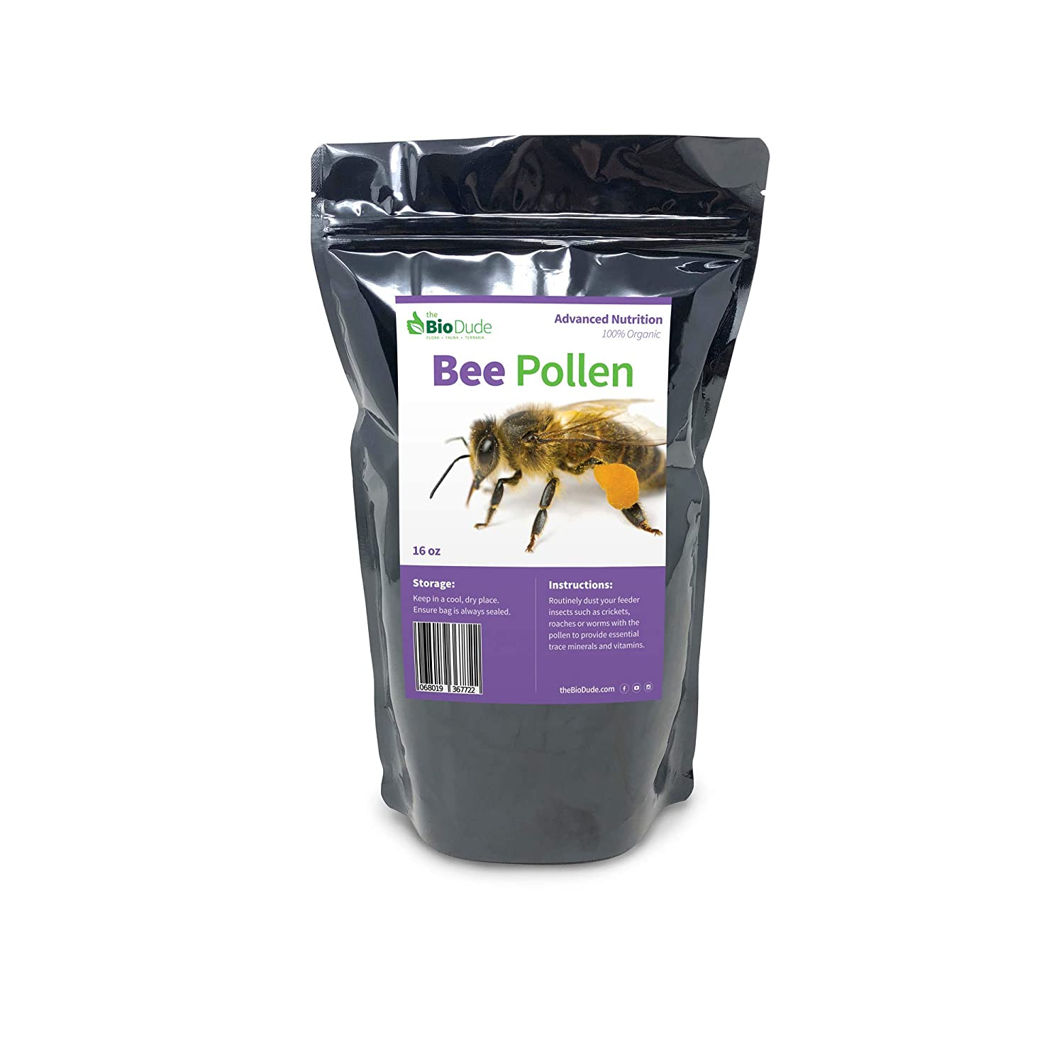 The Bio Dude Bee Pollen 1 LB High in Vitamins, Minerals for Bearded Dragons, Tortoises and Lizards
