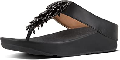 7e8c21e69354 Image Unavailable. Image not available for. Color   Fitflop Rumba Black Womens  Leather Sandals ...