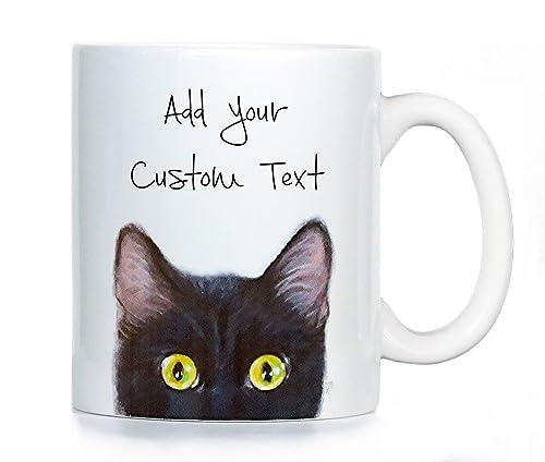Cat Mugs Includes Custom Text Black Siamese or Grey Cat Coffee Mug Orange