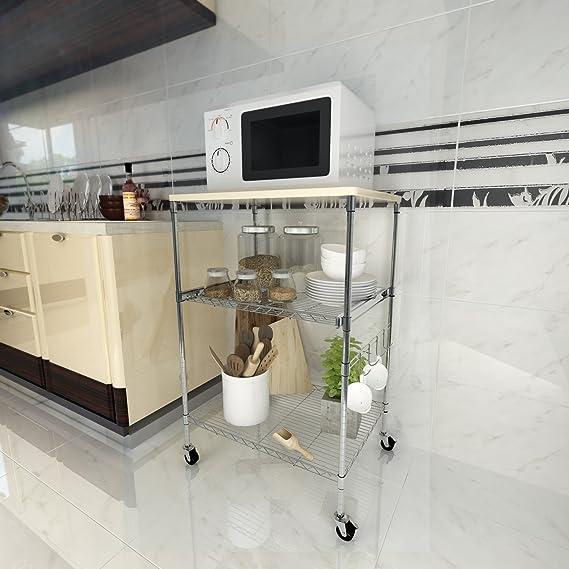 Busyall 3-Tier – Horno de microondas Soporte Estante de Almacenamiento, estantes de Cocina Alambre – Altura ...