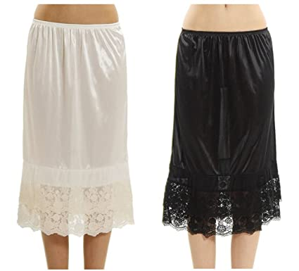 04fd28c29331 Women's Long Double Layered Lace Satin Skirt Extender Underskirt Half Slip  2 Pieces Combo Pack