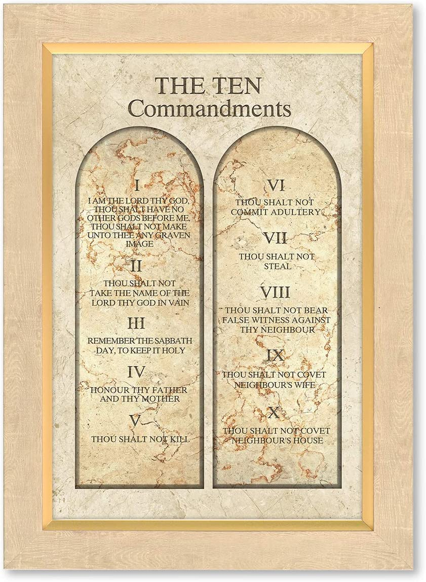 DECORARTS - The Ten Commandments Wall Decor (Catholic Church Version). Giclee Prints on Canvas Matching with Museum Frame for Home Decor and Office Decor, Ready to Hang, Framed Size: 15x21