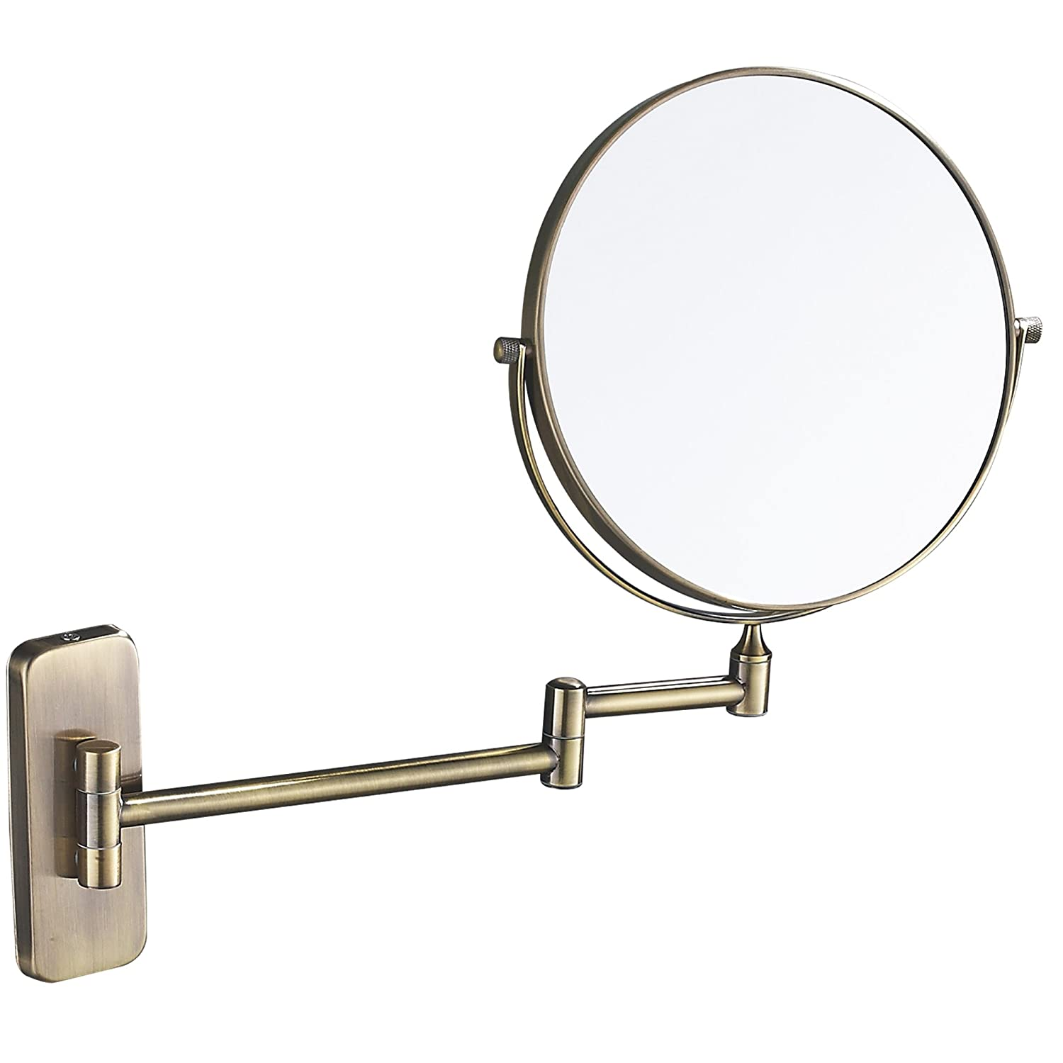 GURUN 8-Inch Double-Sided Wall Mount Makeup Mirror Antique Bronze with 7X Magnification, Brushed Brass M1406K 8in,7X