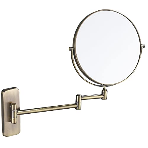 GURUN 8-Inch Double-Sided Wall Mount Makeup Mirror Antique Bronze