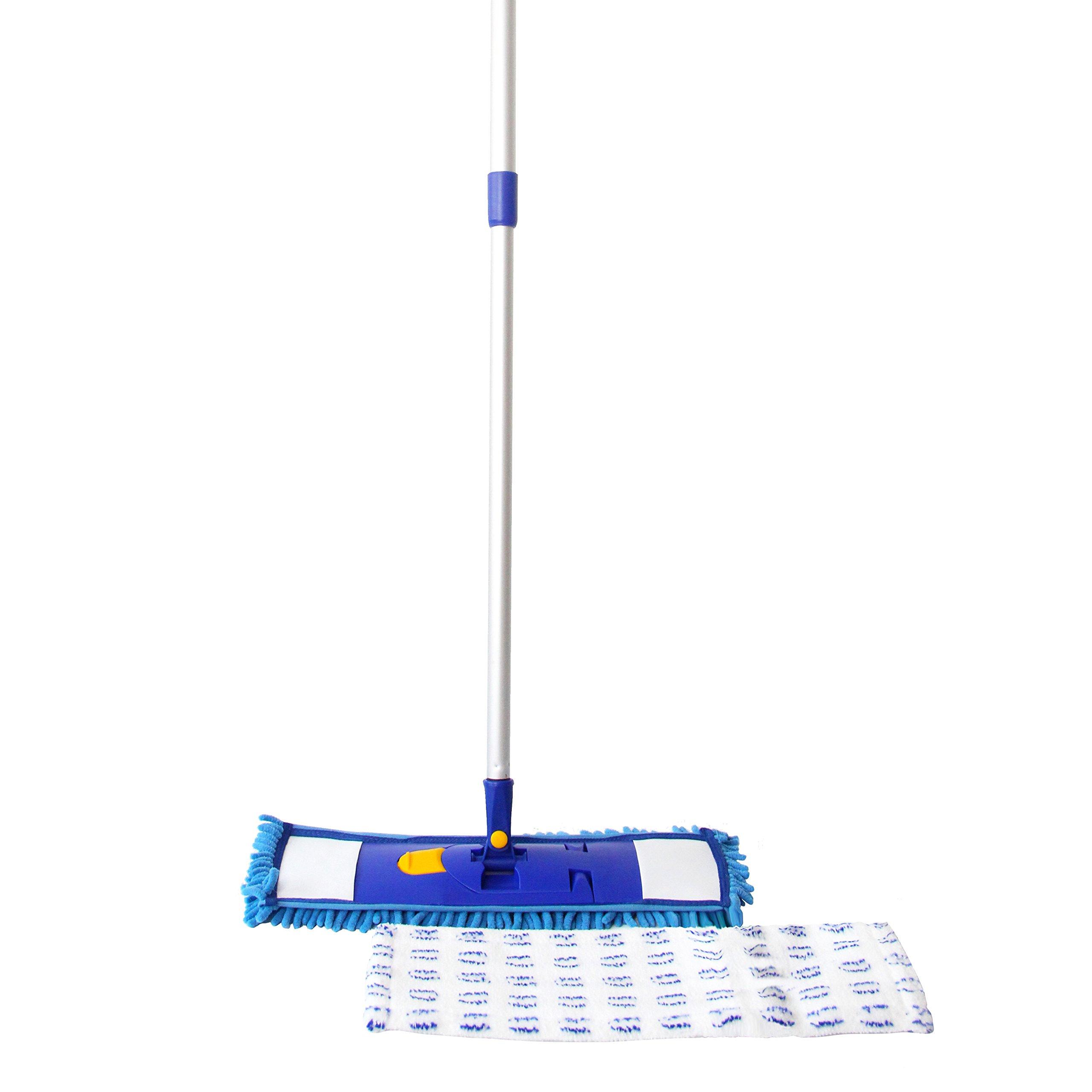 MING DA Professional Microfiber Mop for hardwood,tile ,laminate,High-intensity Aluminum Handle,Best all in 1 kit Dry & wet cleaning+2 Free Microfiber Cloth Refills