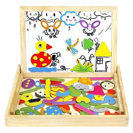 2b94070d6f Lavagna Magnetica per Bambini Puzzle Legno Giochi Magnetici Gioco Educativi  Animale 72 Pezzi per Bambini 3