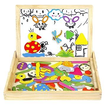 jerryvon Rompecabezas Madera Niños Pizarra Madera Magnetico con Caja Juguetes Educativos Aprendizaje Regalos Navidad Juguetes Niños 3 Años