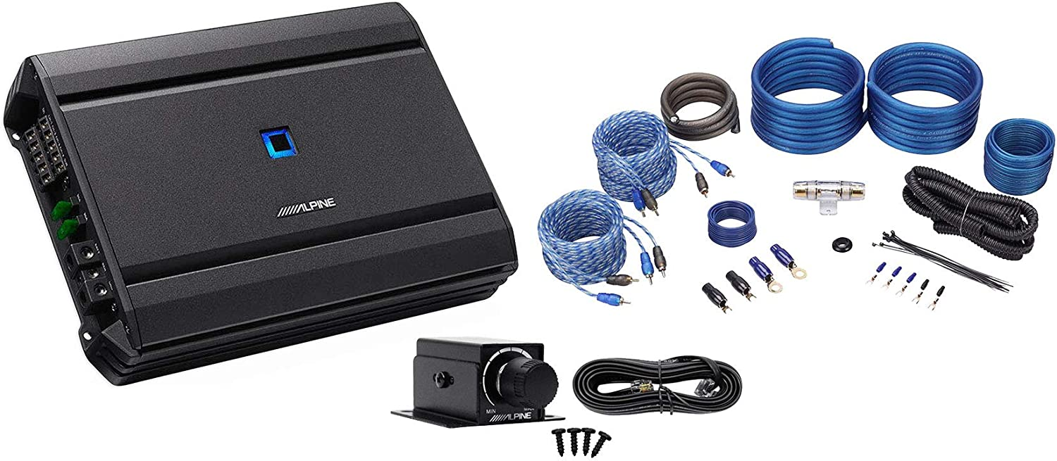 ALPINE S-A55V 440w RMS 5-Channel S-Series Car Amplifier+Amp Wire Kit+Bass Knob