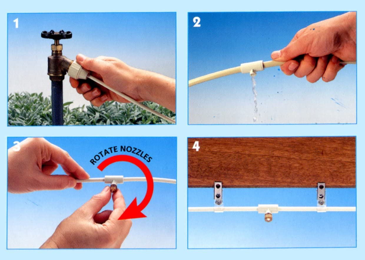 Made in USA 1//4 Misting Cooling Kit with 6 Nozzles SPT SM-1406