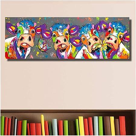 Xiaoxinyuan Colore Quatre Vaches Animaux Peinture A L Huile De Graffiti Impressions Sur Toile Wall Art Photo Chambre Salon Decor A La Maison 40 120cm Amazon Fr Cuisine Maison