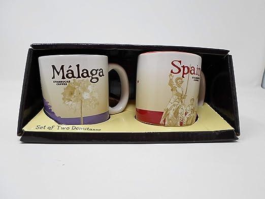 Starbucks - Juego de 2 Tazas de café (diseño de Málaga y España): Amazon.es: Hogar