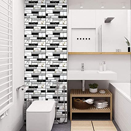 huge discount a4559 75fdf UUTAG Black White Ceramic Tile Wallpaper Roll, 3D Stone Wallpaper PVC Peel  and Stick Wallpaper