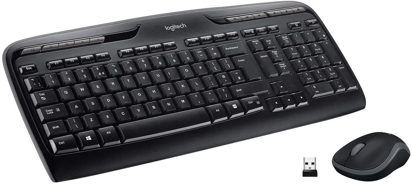 Logitech MK330 Combo Teclado y Ratón Inalámbrico para Windows, 2.4 GHz con Receptor USB Unifying, Ratón Inalámbrico Portátil, Teclas Multimedia, PC/Portátil, Disposición QWERTY UK, Negro