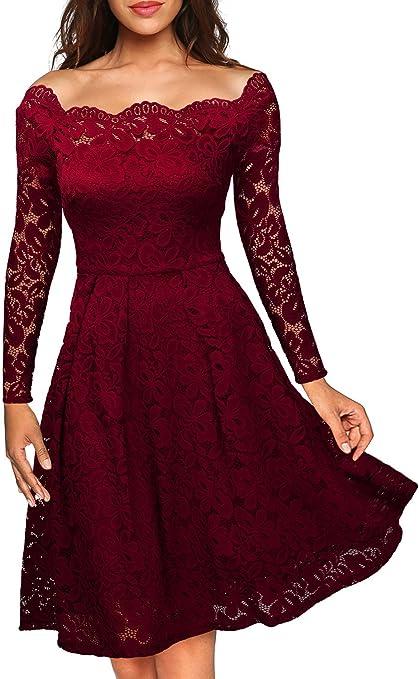 TALLA EU 36/38(Small). Miusol Vintage Encaje Floral Coctel Vestido Corta para Mujer I-rojo EU 36/38(Small)