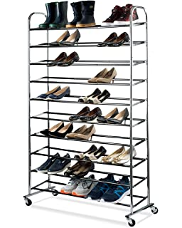 80afeeaabb6 Shoe Organizer - Chrome Shoe Storage Supreme 50 Pair Shoe Rack Closet Shoe  Organizer