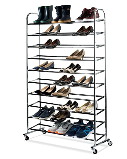 shoe organizer chrome shoe storage supreme 50 pair shoe rack closet shoe organizer - Closet Shoe Rack