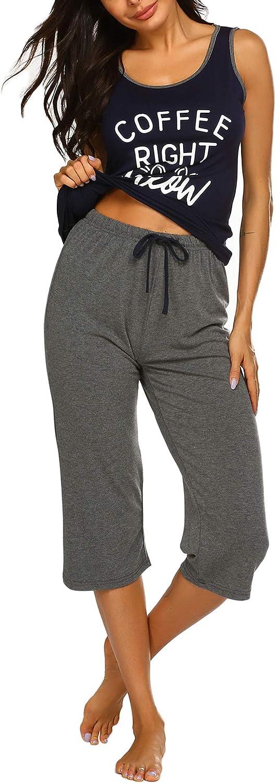 Ekouaer Short Pajama Set for Women, Cartoon Print Tee and Ruffles Sleepwear S-XXL