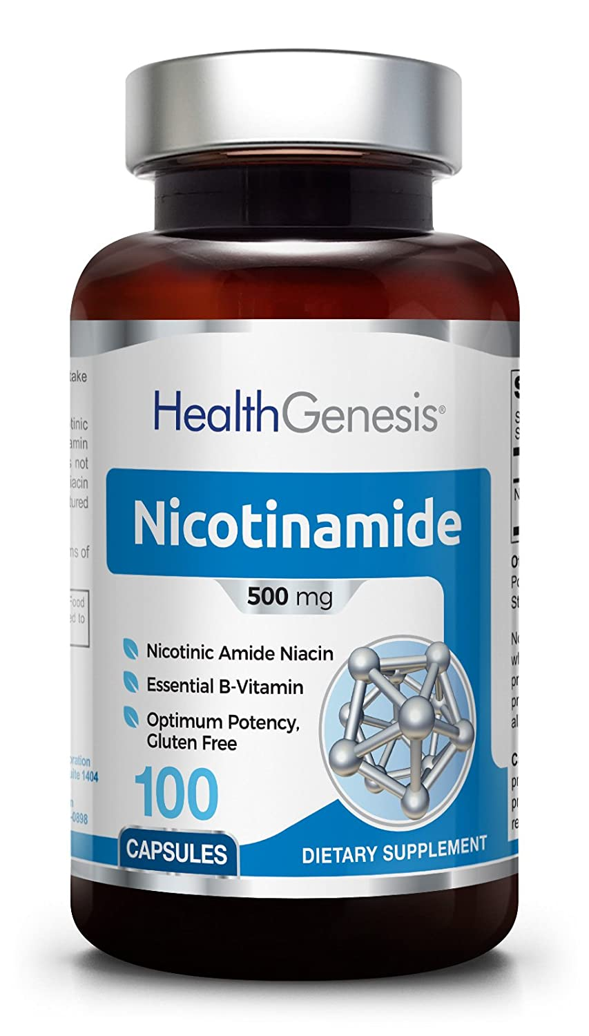 B3 Nicotinamide 500 mg 100 Capsules - Natural Flush-Free Vitamin Formula | Gluten-Free Nicotinic Amide Niacin | Supports Skin Health | Healthy Cell Repair Support