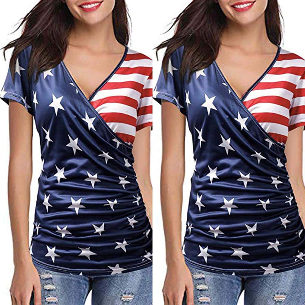 Midress Apparel Womens Petite Casual Short-Sleeve V-Neck T-Shirt Loose Casual Tee Top Blouse USA Flag for Independence Day