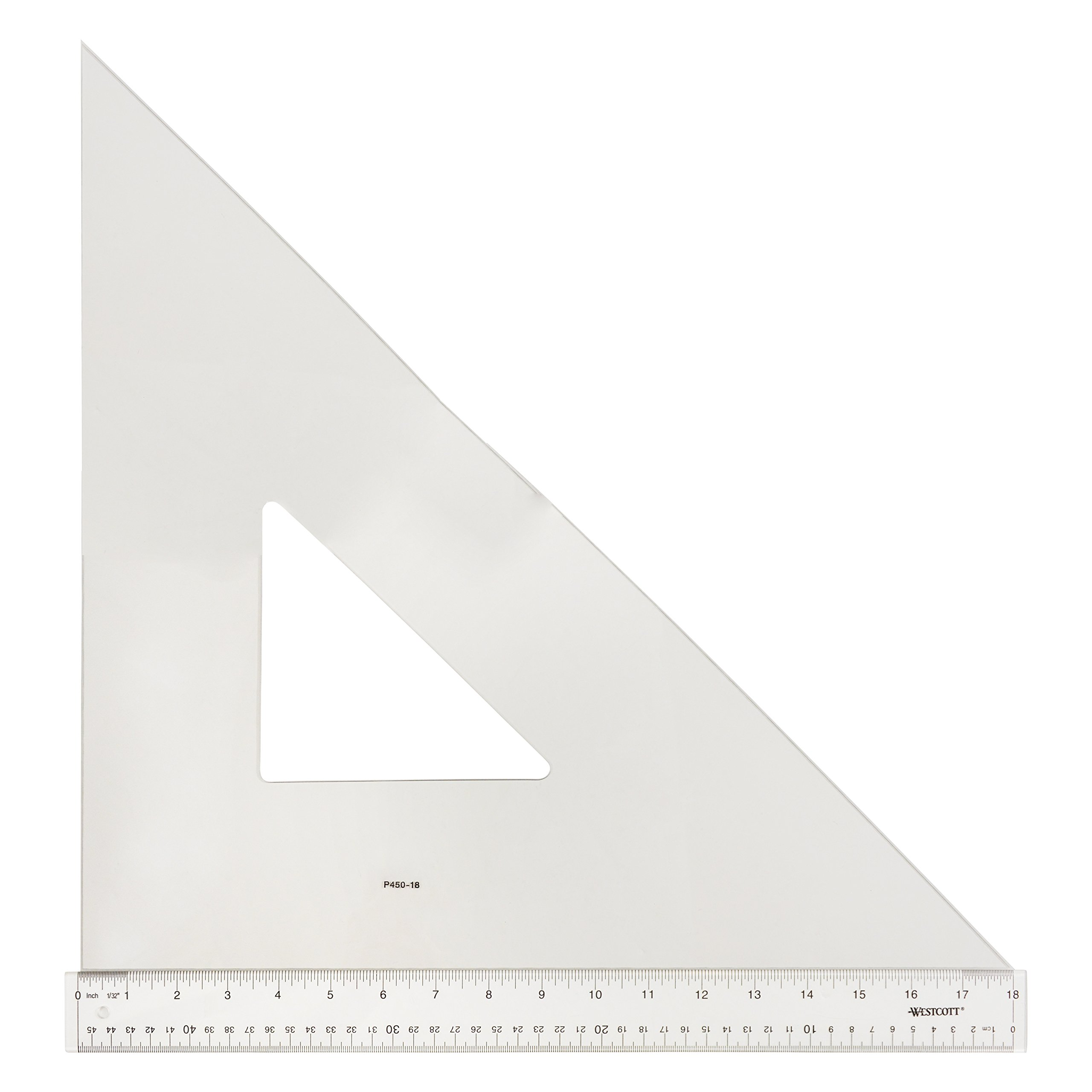 Westcott Professional Triangle, 18'', 45/90 Degree, Transparent (P450-18)