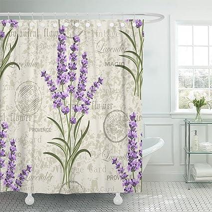 TOMPOP Shower Curtain Purple Flower Floral