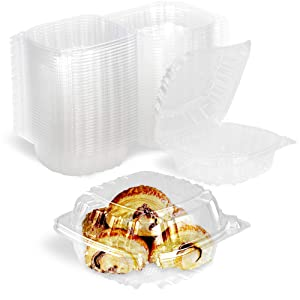 [50 Pack] Clear Hinged Plastic Containers - Single Compartment Clamshell Take Out Containers for Cake, Pastry, Salad - Disposable Plastic Togo Boxes with Lids for Home, Bakery, and Food Business